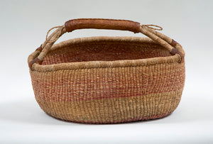 Wonderwall Home Decor Large Woven Basket with Leather Handle
