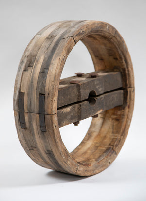 Large French Wooden Wheel with Patina Nails from Wonderwall home decor
