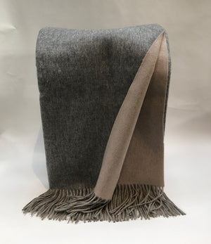 Ash and Bisque Double Faced Woven Throw from Wonderwall Home Decor and Fine Furnishings