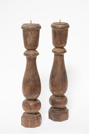 Two Solid Walnut Candle Sticks from Wonderwall Home Decor