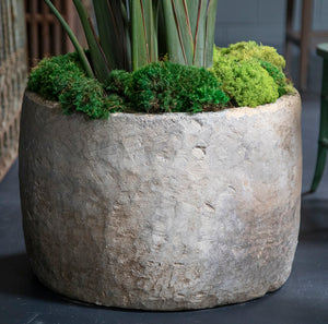 Round and Tall Hand Carved Limestone Planter from Wonderwall home decor and fine furnishings.