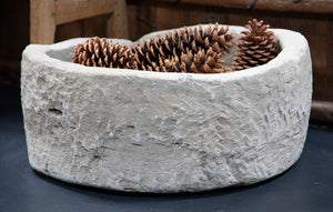 Round Short Hand Carved Limestone Planter from Wonderwall Home Decor and Fine Furnishings