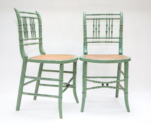 Green Side Chairs with Cane Seats