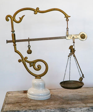 Wonderwall 19th Century Brass and Marble Scale