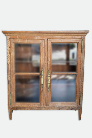 Early Pine Cabinet with Wooden Brass Hinges from Wonderwall Home Decor