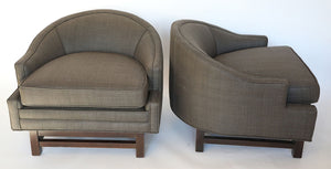 Wonderwall Mid-Century pair of Chairs in warm grey Dupioni silk