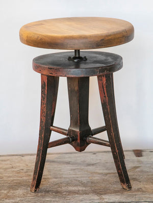 Wonderwall Early 19th century smooth wooden swivel stool