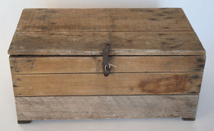Wonderwall Distressed vintage wooden storage trunk with metal details
