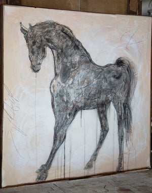 Wonderwall Conquistador, by Artist Sybil Hill with Mixed Media Dark Greys and Pink Horse