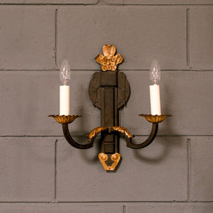 Wonderwall Two Arm Iron and Gold Simplicity Sconces