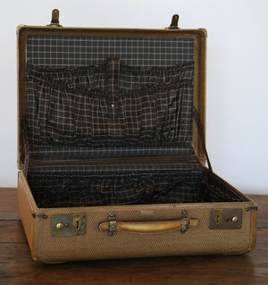 Wonderwall Vintage Suitcase, mustard yellow beige with leather and brass details