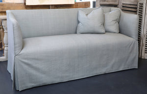 Wonderwall Settee sofa with Dupioni silk upholstery and 2 pillows