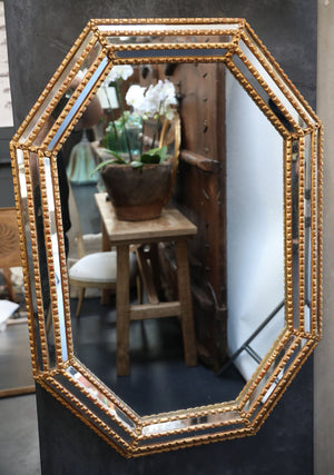 Wonderwall Octagonal Mirror with wooden shaped detailed