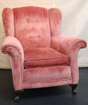 Wonderwall Pink Vintage Velvet Small Wing Chair