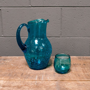 Wonderwall Cerulean Blue Crackle Patterned Glass Pitcher & 9 tumblers