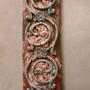Wonderwall Indian Panel 18th Century large carved painted