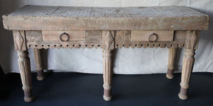 Wonderwall Distressed, European Antique Butcher Block with 2 drawers