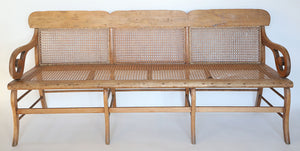 Wonderwall Wood and Cane Antique Bench
