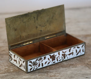 Wonderwall Antique Brass floral box with white enamel