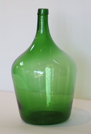 Wonderwall Hand blown Glass Demijohn dark green round and square