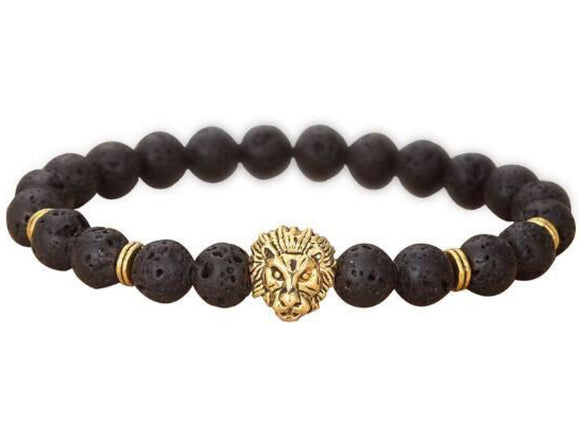 Lava Bead Power Bracelet With Lion Pendant