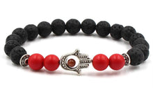 Load image into Gallery viewer, Lava Bead Power Bracelet With Fatima Palm Pendant
