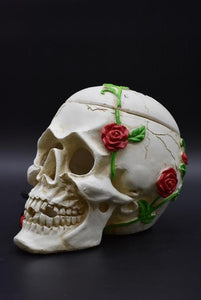 White Skull with Roses Aroma Lamp