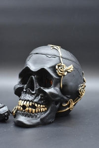 Black Skull with Roses Aroma Lamp