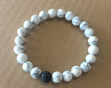 Lava Bead Power Bracelet With White Howlite