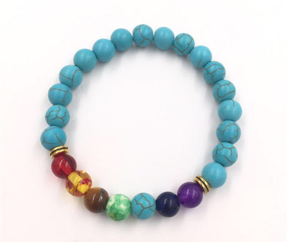 Lava Bead Power Bracelet With Chakra Stones