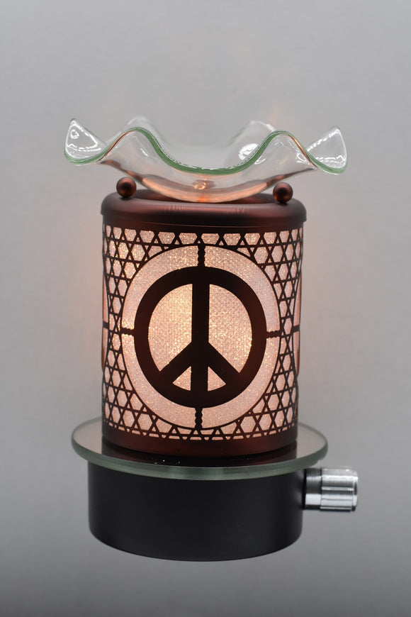 Peace Sign Plug-In Nightlight Oil/Wax Warmer Aroma Lamp