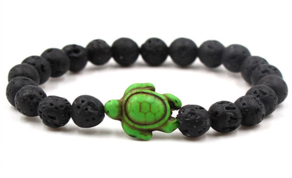Lava Bead Power Bracelet With Turtle Pendant
