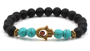 Lava Bead Power Bracelet With Fatima Palm Pendant