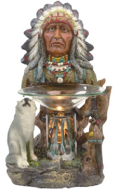 Native American Chief Wolf Aroma Lamp
