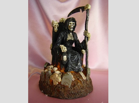 Grim Reaper on Throne Skulls Fragrance Aroma Lamp Oil Diffuser Wax Tart Candle Warmer