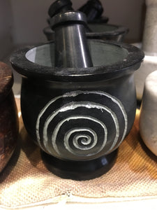 Mortar & Pestle Black spiral