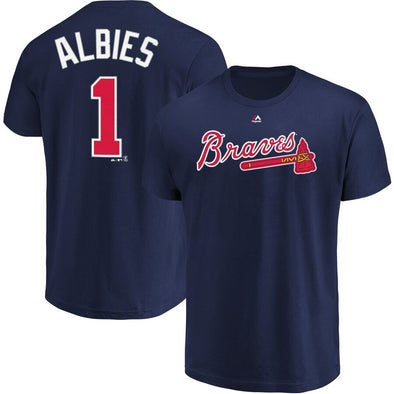 Men's Atlanta Braves Ozzie Albies Majestic Navy Official Name and Number T-Shirt