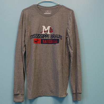 Mississippi Braves Baseball LS Cotton Tee