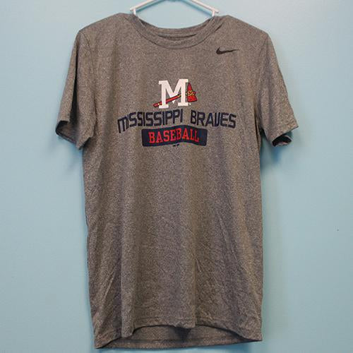 Mississippi Braves Braves Baseball Grey Poly Tee