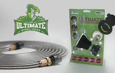 15m Ultimate Steel Garden Hose + Ultimate Nozzle Pack