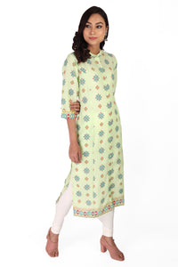 Green Cotton Mandala Kurta