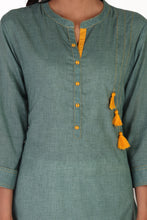 Load image into Gallery viewer, Green-tassel-kurta