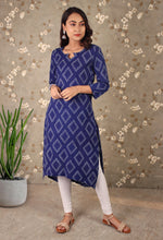 Load image into Gallery viewer, Blue Geometrical Hi-Low Kurti