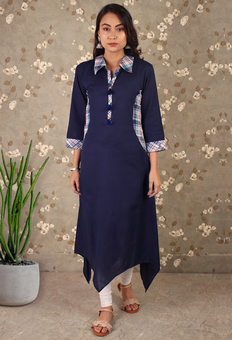 Blue Collared Asymmetrical Kurti