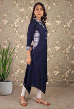 Load image into Gallery viewer, Blue Collared Asymmetrical Kurti