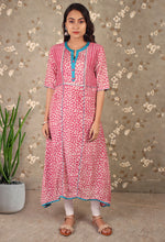 Load image into Gallery viewer, Red & Blue Printed Asymmetrical Kurti