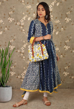 Load image into Gallery viewer, Blue & Yellow Printed Pleated Asymmetrical Kurti