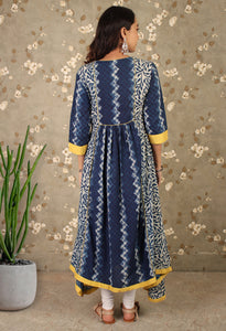 Blue & Yellow Printed Pleated Asymmetrical Kurti