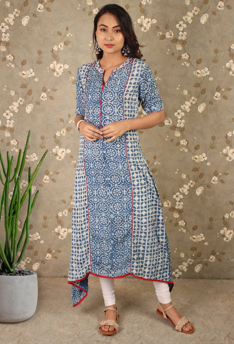 Blue Embellished Asymmetrical Kurti