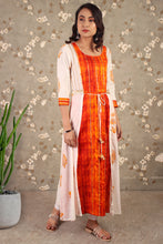 Load image into Gallery viewer, Wonderous Shrug Style Dress In Orange & White